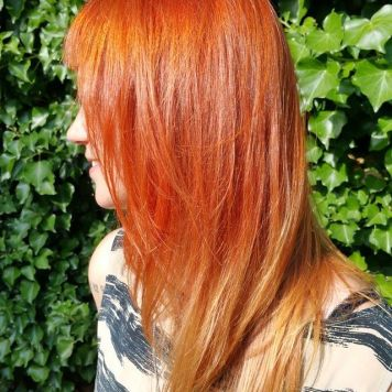 Red head tie and dye